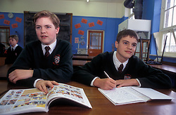 Pupils in history lesson at comprehensive secondary school Yorkshire UK