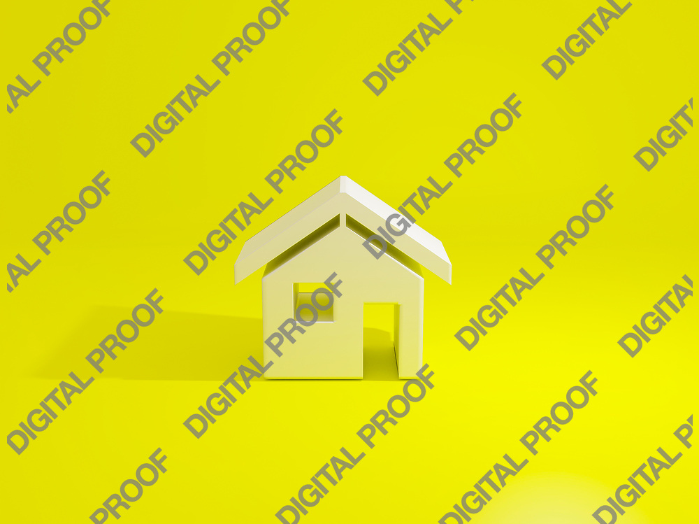 House with icon shape isolated in a yellow background minimalism concept - 3d Illustration