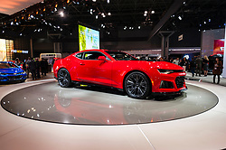NEW YORK, USA - MARCH 23, 2016: Chevrolet Camaro ZL1 on display during the New York International Auto Show at the Jacob Javits Center.