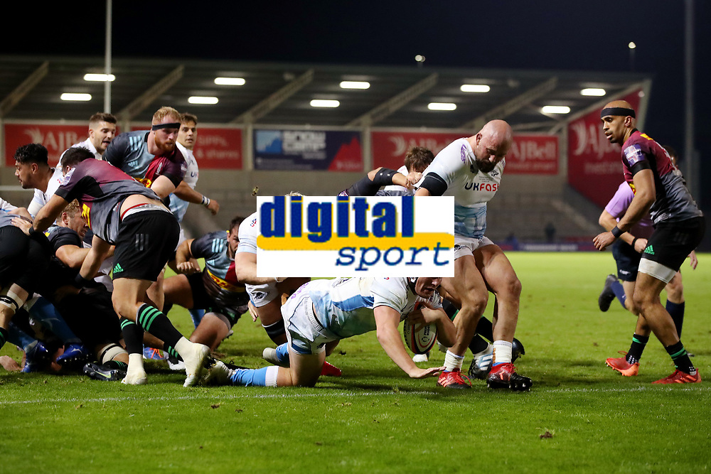 Rugby Union - 2019 / 2020 Premiership Rugby Cup - Final - Sale Sharks vs Harlequins<br /> <br /> Curtis Langdon of Sale Sharks scores his sides first try, at the A J Bell Stadium.<br /> <br /> COLORSPORT/PAUL GREENWOOD