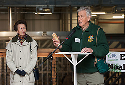 "© Licensed to London News Pictures. 17/12/2015. Wraxall, North Somerset, UK.  The Princess Royal, PRINCESS ANNE, pictured with Anthony Bush the founder of Noah's Ark Zoo Farm holding an elephant tusk that fell off elephant Janu, opens 'Elephant Eden' and elephant play zone at Noah's Ark Zoo Farm in Bristol. HRH The Princess Royal officially opened the 20 acre Elephant Eden habitat – the largest of its kind in northern Europe. Described as a ""five star hotel for elephants"" by international elephant management specialist Alan Roocroft, Elephant Eden saw the arrival of its first African elephant in 2014 and has had finishing touches to the complex completed this year along with the arrival of further elephants. Now home to two characterful bull elephants Janu and M'Changa, Elephant Eden has been celebrated as offering welfare improvements to the industry and has been used as a helpful model for other collections to base their own building plans on, including international zoo colleagues from as far afield as Japan.<br />  Noah's Ark will also unveil its new Elephant Play Zone for children next to the elephant barn, which will include an impressive 4m high scale model elephant with built-in slide.<br /> Photo credit : Simon Chapman/LNP"