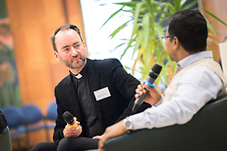 18 September 2017, Geneva, Switzerland: A talkshow format presents a range of programmes and activities of the World Council of Churches, at the Ecumenical Centre in Geneva where the WCC hosts a meeting of member churches' Ecumenical Officers. Here, interview with Dinesh Suna.