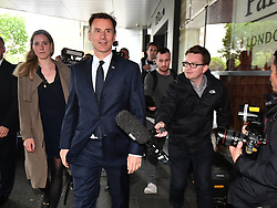 © Licensed to London News Pictures. 15/06/2019. London, UK. JEREMY HUNT is seen arriving at a leadership hustings in Westminster. Boris Johnson has cemented his position as favourite to become the next Prime Minster after winning a landslide in the first round of the conservative party's leadership race. Photo credit: Ben Cawthra/LNP