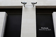 Two CCTV cameras in the City of London, one of the most-watched  on 11th August, 2017, in London, England. According to 2011 figures, there are 420,000 CCTV cameras in London.