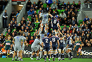 Victor Vito (HUR) wins the lineout<br /> Melbourne Rebels v The Hurricanes<br /> Rugby Union - 2011 Super Rugby<br /> AAMI Park, Melbourne VIC Australia<br /> Friday, 25 March 2011<br /> © Sport the library / Jeff Crow