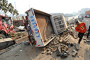 QINGDAO, CHINA - NOVEMBER 22:  China out - Finland Out <br /> <br /> 22 Dead In Qingdao Oil Pipeline Blast <br /> <br /> General view of an explosion site on November 22, 2013 in Qingdao, Shandong Province of China. A blast occurred in Huangdao district of Qingdao city at around 10 a.m. on Friday, when workers were repairing a petroleum pipeline, killing at least 22 people. <br /> ©Exclusivepix