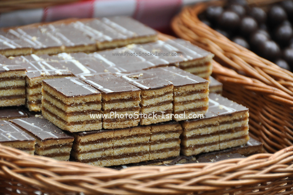 Chocolate cake at a market stall