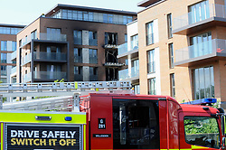 © Licensed to London News Pictures. 03/07/2018. LONDON, UK.  Eight fire engines and 58 firefighters and officers have been called to a fire at a block of flats in Heritage Lane, West Hampstead.  The fire services were called 11.30am and the fire under control aroung 1pm according to reports.  Photo credit: Stephen Chung/LNP