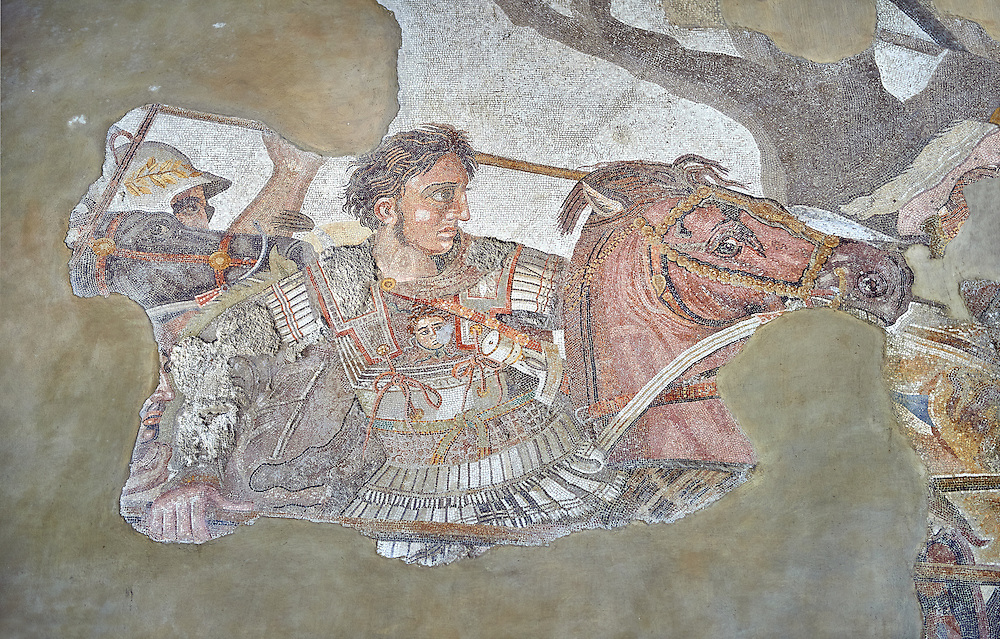 Alexander the Great from the Roman mosaic  of Battle beween Alexander the Great and Persian King Darius, 120-125 BC, Casa del Fauno, Pompeii, inv 10020, Naples National Archaeological Museum .<br /> <br /> If you prefer to buy from our ALAMY PHOTO LIBRARY  Collection visit : https://www.alamy.com/portfolio/paul-williams-funkystock/roman-mosaic.html - Type -   Naples   - into the LOWER SEARCH WITHIN GALLERY box. Refine search by adding background colour, place, museum etc<br /> <br /> Visit our ROMAN MOSAIC PHOTO COLLECTIONS for more photos to download  as wall art prints https://funkystock.photoshelter.com/gallery-collection/Roman-Mosaics-Art-Pictures-Images/C0000LcfNel7FpLI