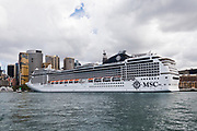 Cruise ship MSC Magnifica in Sydney Harbour at the start  of the Coronavirus Outbreak in Sydney, Australia.