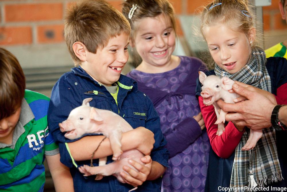 364396-leerlingen van het 3de leerjaar van basisschool KlimOp brengen een schoolbezoek aan de boerderij van Kris en Hilde Gios, Oosterhoven 16 Herenthout