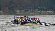 Greater London. United Kingdom, 164th. Men's  University Boat Race, Cambridge University, move away from Oxford University. Putney to Mortlake,  Championship Course, River Thames, London. <br /> <br /> Saturday  24/03/2018<br /> <br /> [Mandatory Credit:Intersport Images]