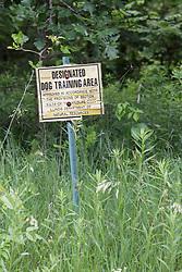 Sign designating area as a dog training area