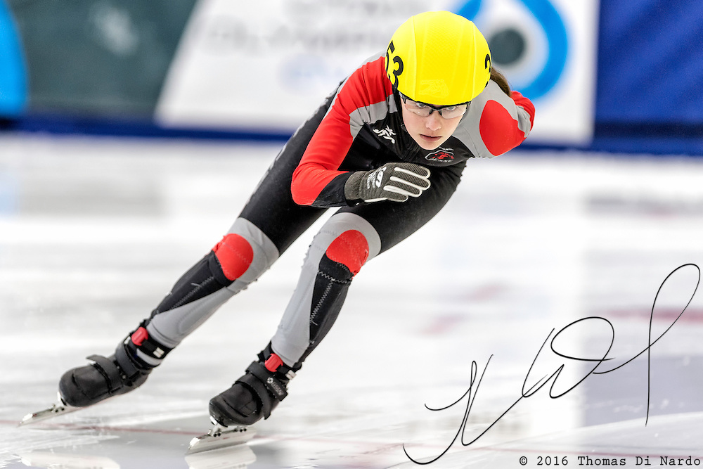 December 17, 2016 - Kearns, UT - Lily McKay skates during US Speedskating Short Track Junior Nationals and Winter Challenge Short Track Speed Skating competition at the Utah Olympic Oval.