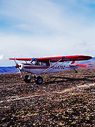 Hollis Twitchell preparing to take off from ridge top airstrip in foothills of the Alaska Range above Bear Creek in Lake Clark National Park's Office of Aircraft Service's PA18 Super Cub, Alaska.