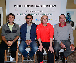 (L-R) Pat Cash, Pete Sampras, Andre Agassi,Ivan Lendl attends World Tennis Day Showdown press conference ahead of his participation in World Tennis Day Showdown today, where Agassi will play Sampras, and Lendl will play Cash in memory of their 'epic Grand Slam rivalries', at The Athenaeum Hotel, 116 Piccadilly, London, United Kingdom. Monday, 3rd March 2014. Picture by Nils Jorgensen / i-Images