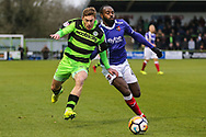 Forest Green Rovers Luke James(33) is challenged by Exeter City's Hiram Boateng(44) during the The FA Cup match between Forest Green Rovers and Exeter City at the New Lawn, Forest Green, United Kingdom on 2 December 2017. Photo by Shane Healey.
