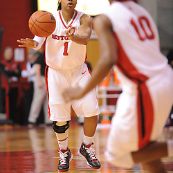 Feb 21, 2009; Piscataway, NJ, USA; Rutgers guard Khadijah Rushdan (1) passes to guard Epiphanny Prince (10) during the first half of Rutgers' 55-42 victory over Providence at the Louis Brown Athletic Center.