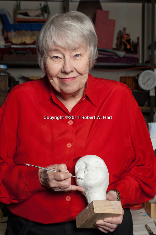 Kathy Burk with one of her works-in-progress at The Dallas Children's Theater on 10/14/11....Robert W. Hart/Special Contributor