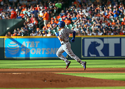 July 28, 2018 - Houston, TX, U.S. - HOUSTON, TX - JULY 28:  Texas Rangers catcher Isiah Kiner-Falefa (9) rounds the bases after hitting a homer in the top of the second inning during the baseball game between the Texas Rangers and Houston Astros on July 28, 2018 at Minute Maid Park in Houston, Texas.  (Photo by Leslie Plaza Johnson/Icon Sportswire) (Credit Image: © Leslie Plaza Johnson/Icon SMI via ZUMA Press)