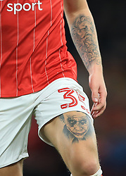 20 September 2017 -  EFL Cup (Third round) - Chelsea v Nottingham Forest - Jason Cummings of Nottingham Forest covered in tattoo's notably featuring the Joker on his left thigh - Photo: Marc Atkins/Offside