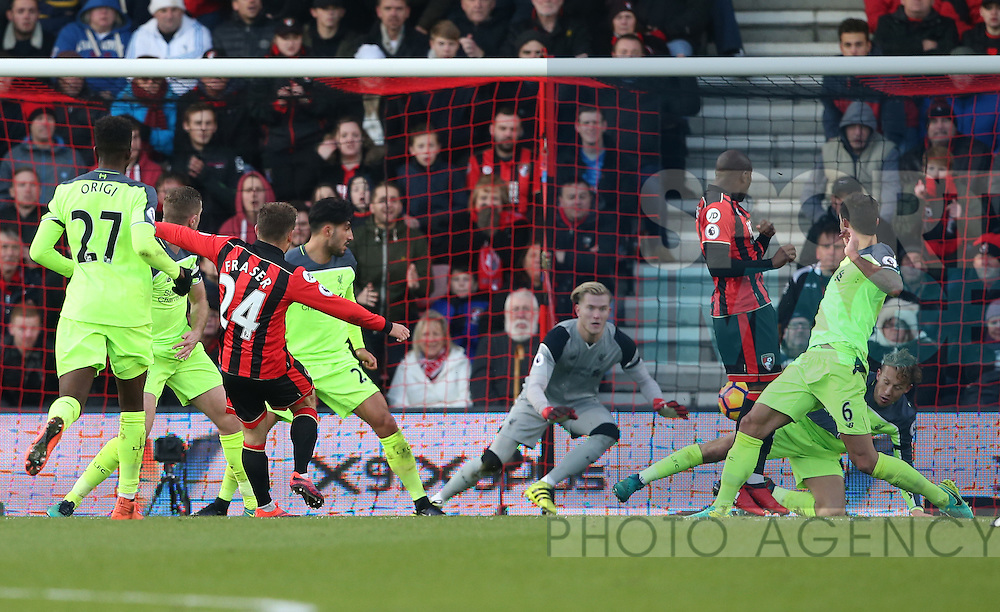 Bournemouth's Ryan Fraser scoring his sides second goal during the Premier League match at the Vitality Stadium, London. Picture date December 4th, 2016 Pic David Klein/Sportimage