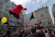 Stadtfest Wien. Australian artist group Strange Fruit performing at the Graben.