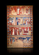 Gothic panel depicting scenes from the Life of St Nicholas. End of the 13th century, fresco transferred to canvas from a mural on the north wall of  The Church of San Fructuoso, Nicholas and John the Evangelist, Huesca, Spain. Inv MNAC 45796. National Museum of Catalan Art (MNAC), Barcelona, Spain