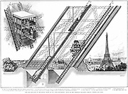 Eiffel Tower elevator by Otis. Elevator car (A): One leg of tower showing elevator with (1) hydraulic cylinder, (2) travelling multiplying pulleys, (3) stationary multiplying pulleys (4) landing platform (5) ascending car (6) cables. Wood engraving 1889.