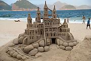 Sandcastle on Copacabana beach, Rio de Janeiro.