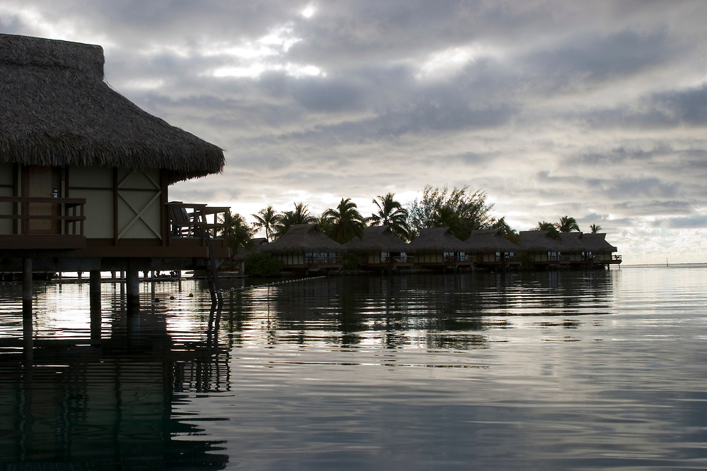 A lagoon at dusk at the Beachcomber International Hotel, Moorea, French Polynesia
