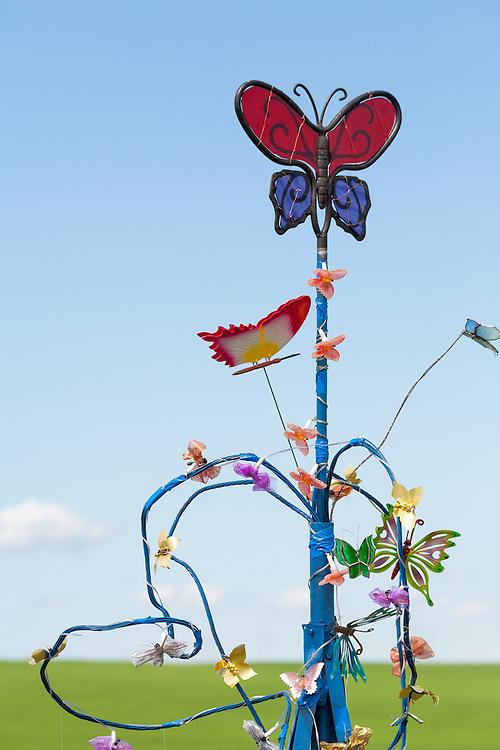 Kinetic wind sculpture exhibit by the Swift Current Museum. Windscape Kite Festival, Swift Current, Saskatchewan.