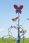 Kinetic wind sculpture exhibit by the Swift Current Museum. Windscape Kite Festival, Swift Current, Saskatchewan.