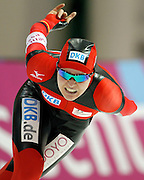 Stephanie Beckert of Germany competes in the women's 5000 meter World Cup speed skating competition at the Utah Olympic Oval in Kearns, Utah, Friday, Feb. 18, 2011. Beckaert won a silver medal in the event. (AP Photo/Colin E Braley)