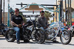 Bobby Seeger of Indian Larry Motorcycles downtown during the Daytona Bike Week 75th Anniversary event. FL, USA. Friday March 11, 2016.  Photography ©2016 Michael Lichter.