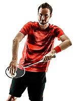 one caucasian Badminton player man in studio shadow silhouette isolated on white background