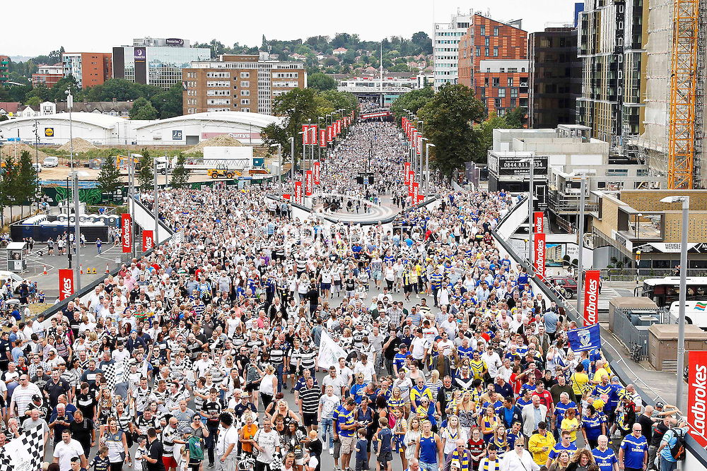 Fans head up Wembley Way for the Challenge Cup Final 2016 match between Warrington Wolves and Hull FC at Wembley Stadium, London, England on 27 August 2016. Photo by Craig Galloway.