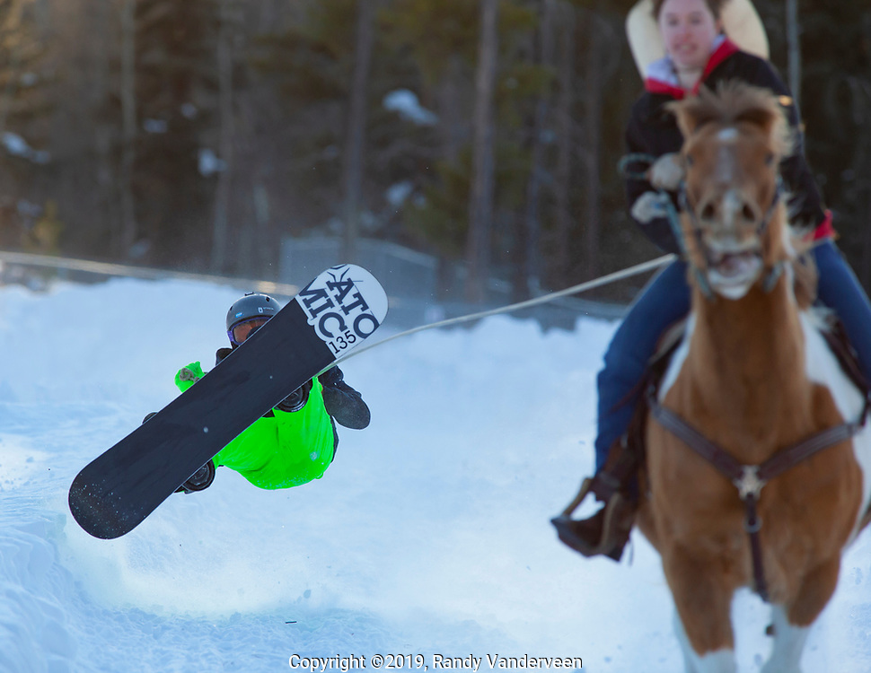 Photo Randy Vanderveen<br /> 2019-03-08<br /> Grande Prairie, Alberta<br /> Gage LaValley wipes out as he gets some air while Toffee, ridden by Aimee LaValley, pulls him along at the Thunder in the Pines at Evergreen Park Friday evening. The inaugural skijoring event, which saw someone on skis or a snowboard pulled around by a horse or horse and rider on a closed course proved a popular event at the Foster's Peace Country Ag Classic for both spectators and participants.