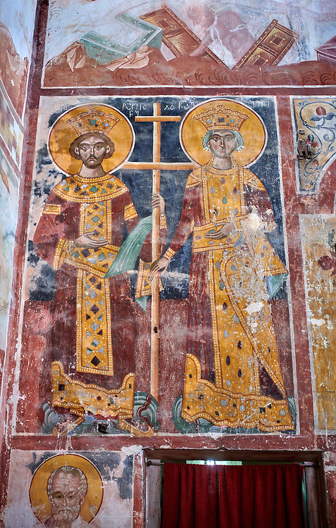 Pictures & images of the Byzantine fresco panels in the Gelati Georgian Orthodox Church of the Virgin, 1106, depicting a Georgian King and Queen.  The medieval Gelati monastic complex near Kutaisi in the Imereti region of western Georgia (country). A UNESCO World Heritage Site. .<br /> <br /> Visit our MEDIEVAL PHOTO COLLECTIONS for more   photos  to download or buy as prints https://funkystock.photoshelter.com/gallery-collection/Medieval-Middle-Ages-Historic-Places-Arcaeological-Sites-Pictures-Images-of/C0000B5ZA54_WD0s<br /> <br /> Visit our REPUBLIC of GEORGIA HISTORIC PLACES PHOTO COLLECTIONS for more photos to browse, download or buy as wall art prints https://funkystock.photoshelter.com/gallery-collection/Pictures-Images-of-Georgia-Country-Historic-Landmark-Places-Museum-Antiquities/C0000c1oD9eVkh9c