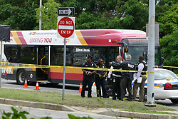 June 7, 2017 - Dundalk, MD, USA - Police are at the scene of a shooting in Dundalk, Md., after a police officer was wounded and the suspect was killed. (Credit Image: © Lloyd Fox/TNS via ZUMA Wire)