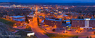 Panoramic looking down upon night streets of Billings, Montana, USA