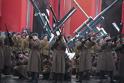November 7, 2016 - Moscow, Russia - Russia WWII historical parade anniversaryin Moscow, Russia, on November 7, 2016.  The 75th anniversary of a World War II parade in Red Square. The participants of 1941 parade headed straight to the frontline to defend Moscow from the Nazi forces. (Credit Image: © Dmitry Ermakov/NurPhoto via ZUMA Press)
