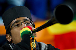 Muslim Fan of Ghana blows vuvuzela prior to the 2010 FIFA World Cup South Africa Quarter Finals football match between Uruguay and Ghana on July 02, 2010 at Soccer City Stadium in Sowetto, suburb of Johannesburg. Uruguay defeated Ghana after penalty shots. (Photo by Vid Ponikvar / Sportida)