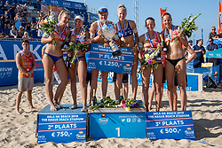 25-08-2019 NED: DELA NK Beach Volleyball, Scheveningen<br /> Last day NK Beachvolleyball / (L-R) Joy Stubbe #2, Marleen Ramond- van Iersel #1, Emma Piersma #1 and Pleun Ypma #2 Dutch Champion Beachvolleyball 2019, Julia Wouters #2, Katja Stam #1