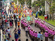 """14 JANUARY 2015 - BANGKOK, THAILAND:  The 2015 Discover Thainess parade. The Tourism Authority of Thailand (TAT) sponsored the opening ceremony of the """"2015 Discover Thainess"""" Campaign with a 3.5-kilometre parade through central Bangkok. The parade featured cultural shows from several parts of Thailand. Part of the """"2015 Discover Thainess"""" campaign is a showcase of Thailand's culture and natural heritage and is divided into five categories that match the major regions of Thailand – Central Region, North, Northeast, East and South.    PHOTO BY JACK KURTZ"""