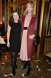 Left to right, LAURA McLETCHIE and JADE PARFITT at the Cash & Rocket Tour Announcement Launch Lunch in association with McArthur Glen was held at The Grill, The Dorchester, Park Lane, London on 12th March 2015.