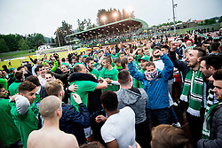 Players and supporters of NK Olimpija Ljubljana celebrate after winning during football match between NK Rudar and NK Olimpija Ljubljana in Round #35 of Prva liga Telekom Slovenije 2015/16, on May 14, 2016, in Stadium Ob jezeru, Velenje, Slovenia. NK Olimpija with this victory became Slovenian National Champion 2016. Photo by Vid Ponikvar / Sportida