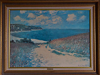 """Signed Claude Monet oil painting """"Path Through the Corn at Pourville"""" in my cabin on the 8th deck of the MV World Odyssey. I think I have mentioned that this ship is a bit more opulent than the MV Explorer previously used by Semester at Sea. Image taken with a Leica T camera and 11-23 mm lens (ISO 320, 19 mm, f/4.2, 1/125 sec)."""