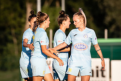 Players of ZNK Pomurje celbrating ther goal during football match between ZNK Pomurje and Rigas Futbal Skola in 1st qualifying round for UEFA Women's Champions League 2021/22, on 18 of Avgust, 2021 in TSC Trate Gornja Radgona, Gornja Radgona, Slovenia. Photo by Blaž Weindorfer / Sportida
