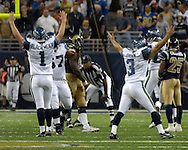 Seattle kicker Josh Brown (3) celebrates with Ryan Plackemeier (1) after kicking the game winning field goal as time expired over St. Louis at the Edward Jones Dome in St. Louis, Missouri, October 15, 2006.  The Seahawks beat the Rams 30-27.<br />